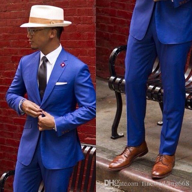 Handsome One Button Groomsmen Notch Lapel Groom Tuxedos Men Suits Wedding/Prom/Dinner Best Man Blazer(Jacket+Pants+Tie) AA129