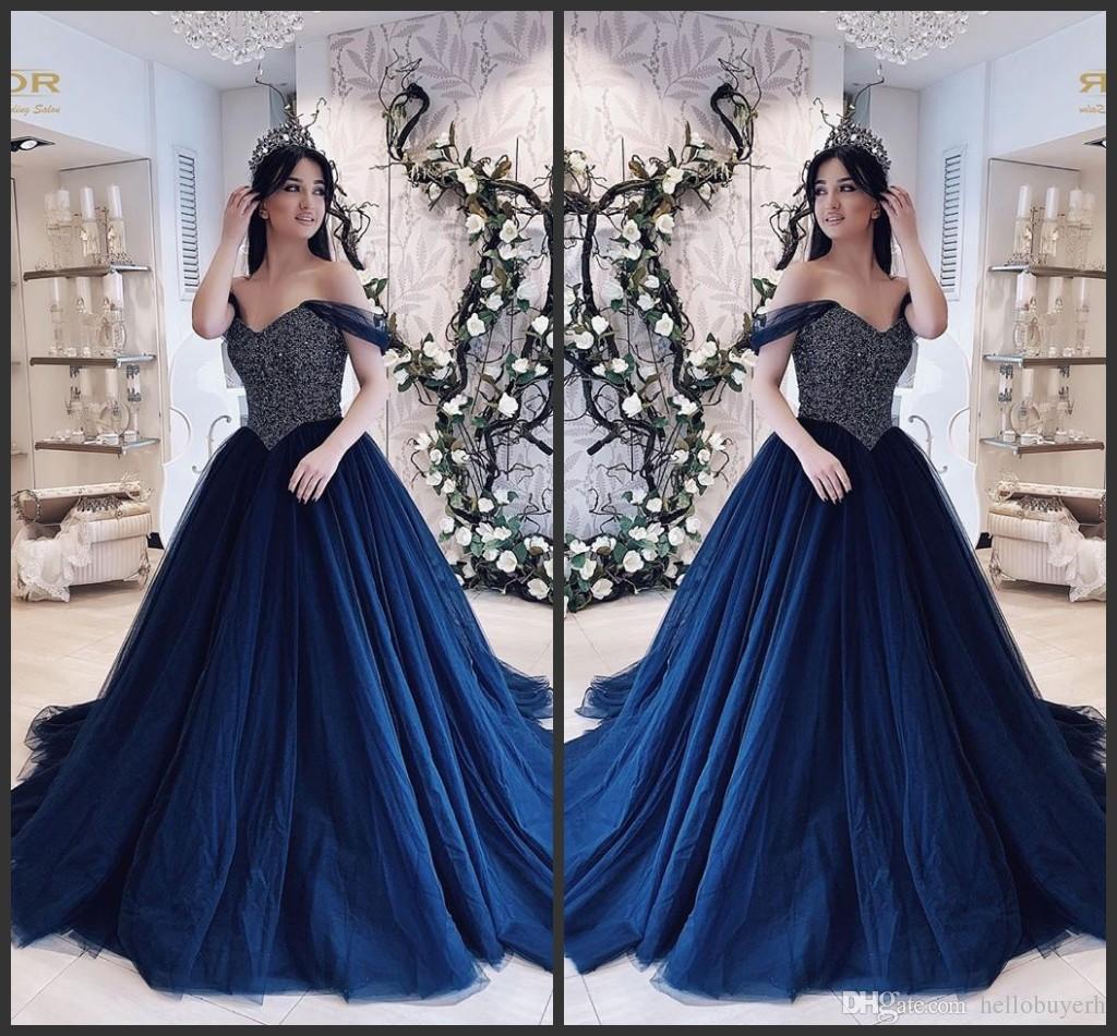 Marineblau Tüll neue Ballkleid Prom Kleider lange 2019 Schatz billige Robes de Cocktail Plus Size Abendkleid