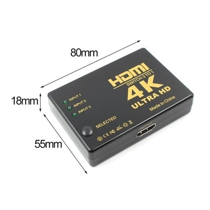 HDTV PS3 PS4 XBox HDMI Switcher Splitter için Converte dışarı 1 için HDMI Adaptör 4K 1080P Ultra HD Akıllı Uzaktan Kumanda 3