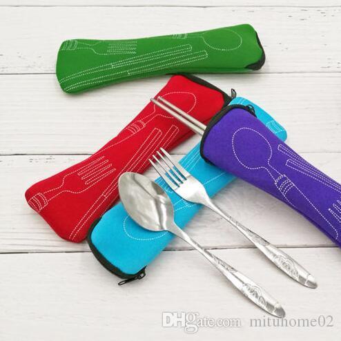 Alta calidad ecológica al aire libre almuerzo portátil de acero inoxidable Ch0opsticks Cuchara Tenedor Vajilla Cubiertos Sets de Viaje Bolsa paquete de almohada 300