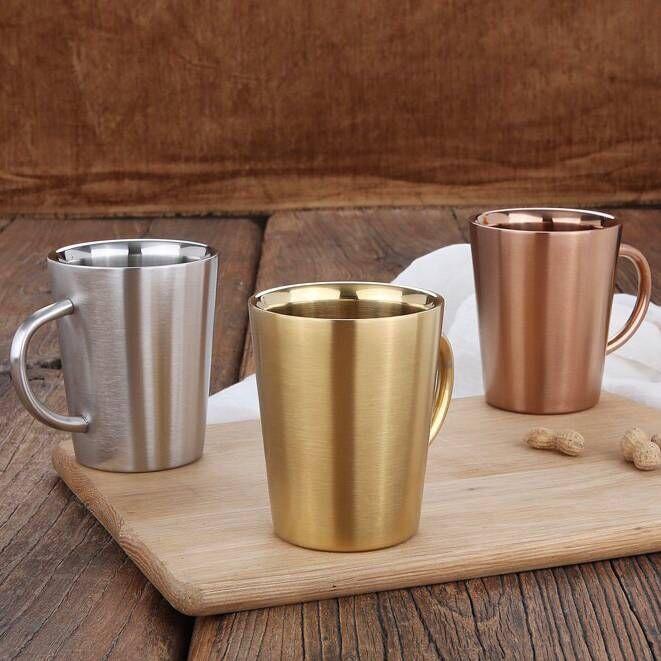스테인레스 스틸 커피 컵 손으로 휴대용 낯 짝 환경 친화적 인 음주 컵 물병 GGA1924와 더블 레이어 안티 Scald 머그잔