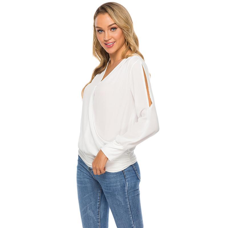 Хорошее качество Весна женщин V-образным вырезом плеча плиссированные длинными рукавами Top Sexy Ladies вскользь Свободные рубашки Женская одежда НОВЫЕ ПОСТУПЛЕНИЯ