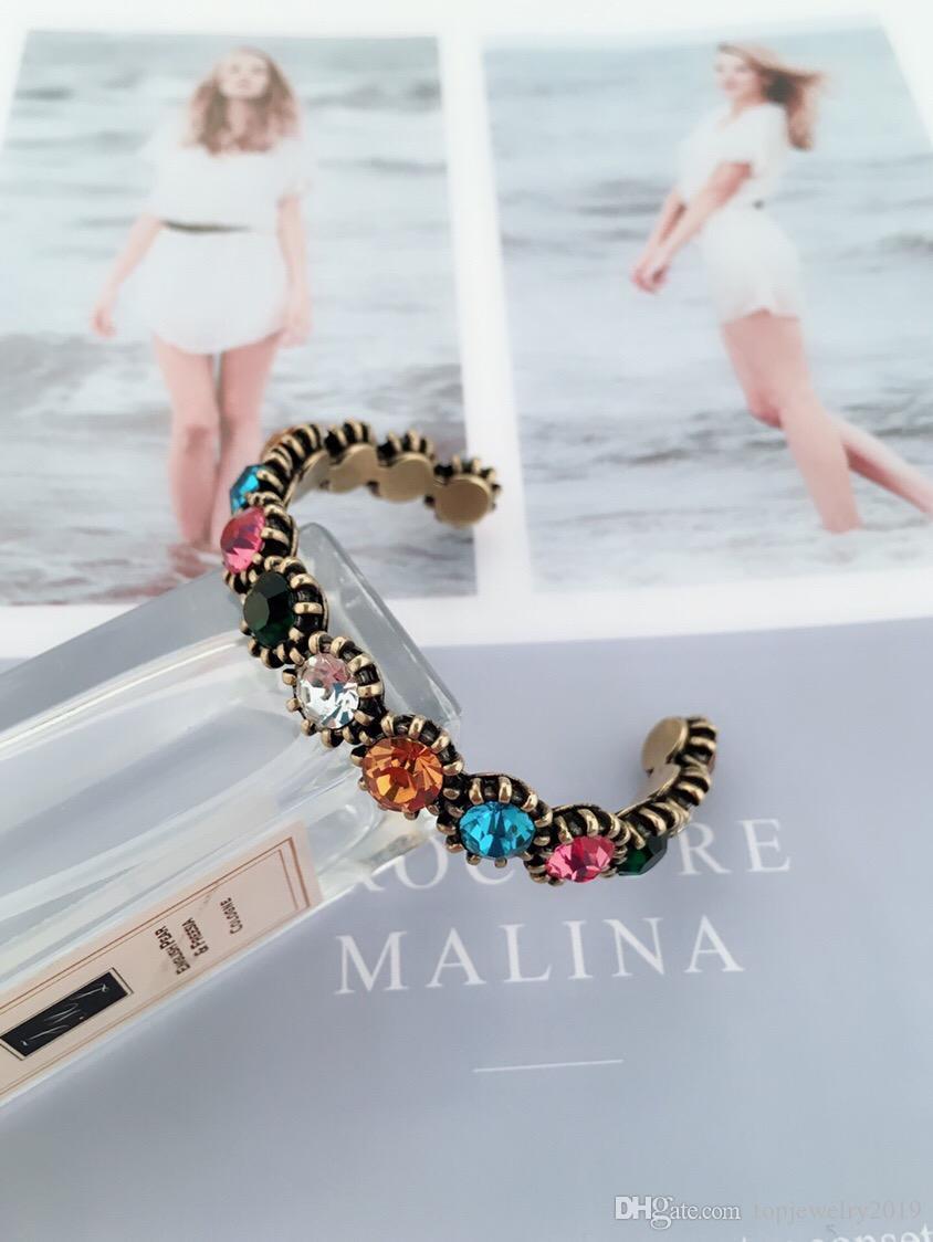 роскошные дизайнерские ювелирные изделия женские браслеты ретро цвет алмазные манжеты браслеты с логотипом бронзовый браслет модные украшения
