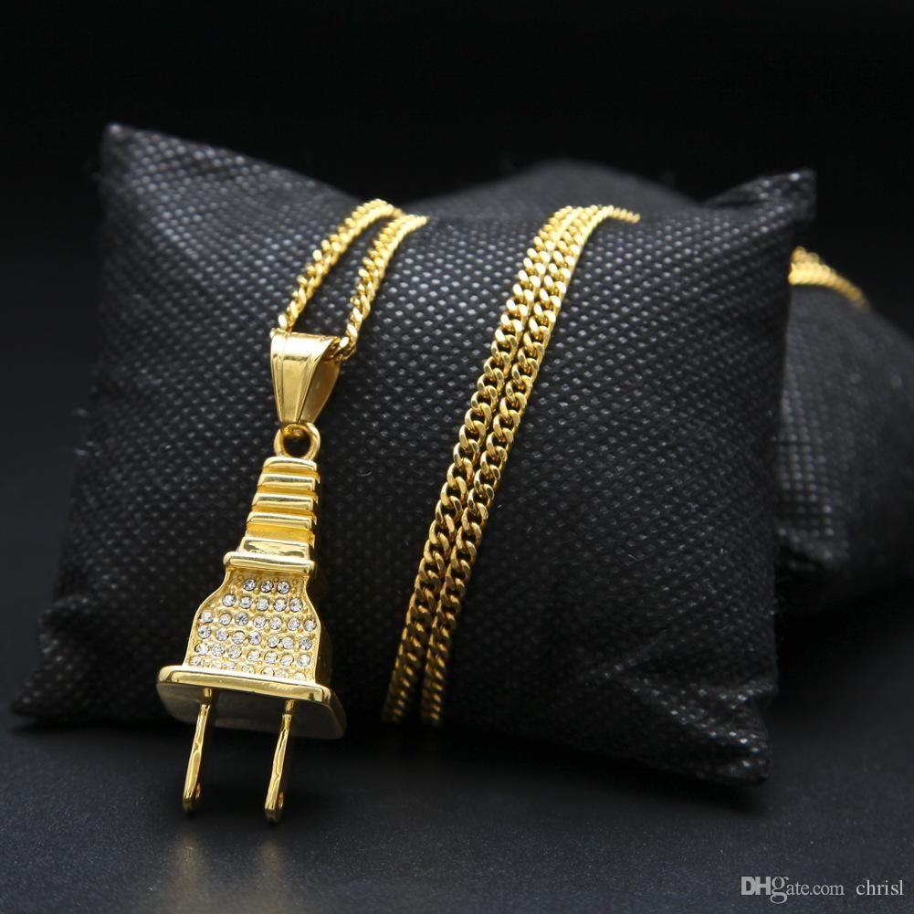 Hot Sale Gold Plated Plug Pendant Gold Chain Long Necklace Men Women Tide Brand Hip Hop Necklaces Pendants Hiphop Jewelry