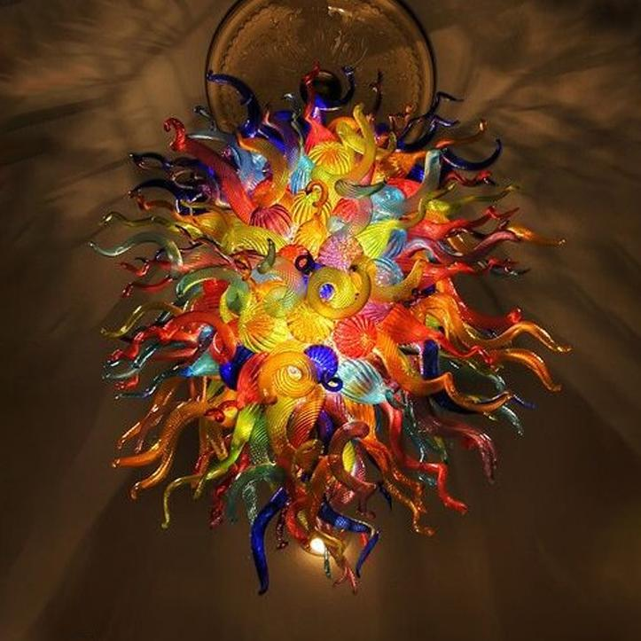 Contemporary Crystal Chandeliers Multi Color High Ceiling Hanging Lamps Painted Colorful Art Glass Chandelier Lightings Home Decor Light