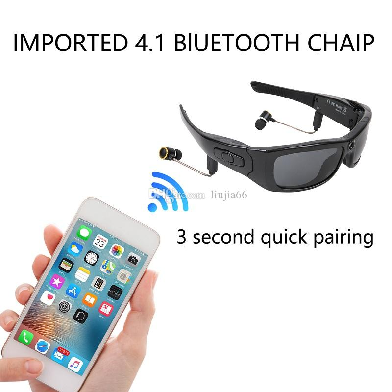 120° Wide Angle Smart bluetooth Glasses Stereo Headset Outdoor Sunglasses Camera