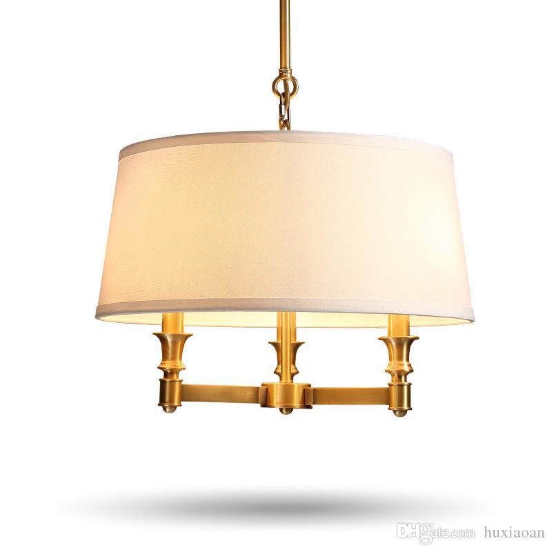 country américain tout simple, lustre en cuivre lampe de cuivre d'art en tissu salle à manger salon lampe chambre chambre d'hôtel chambre