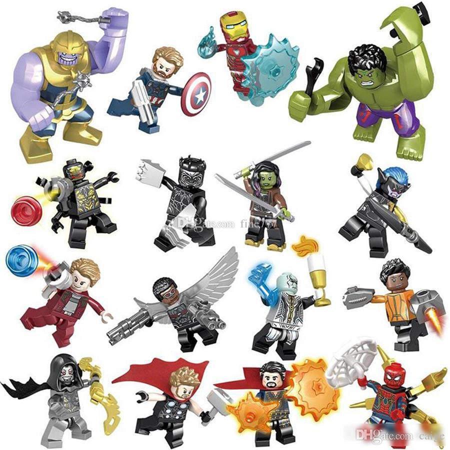 Conjuntos de blocos de construção da maravilha 16 pçs / lote vingadores Infinito Guerra Minifig Superhero Thor Hulk Capitão América Figuras Blocos de Construção de Brinquedos