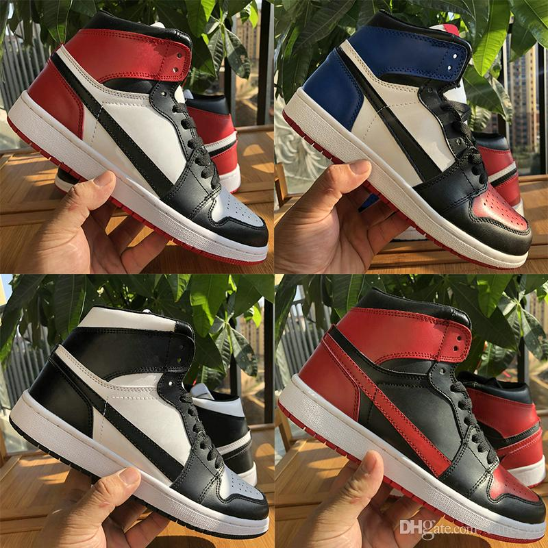 Best quality Jumpman 1 OG Black White Banned men basketball shoes mens 1s Chicago Track Red UNC sneakers Gold TOP 3 desingner trainers