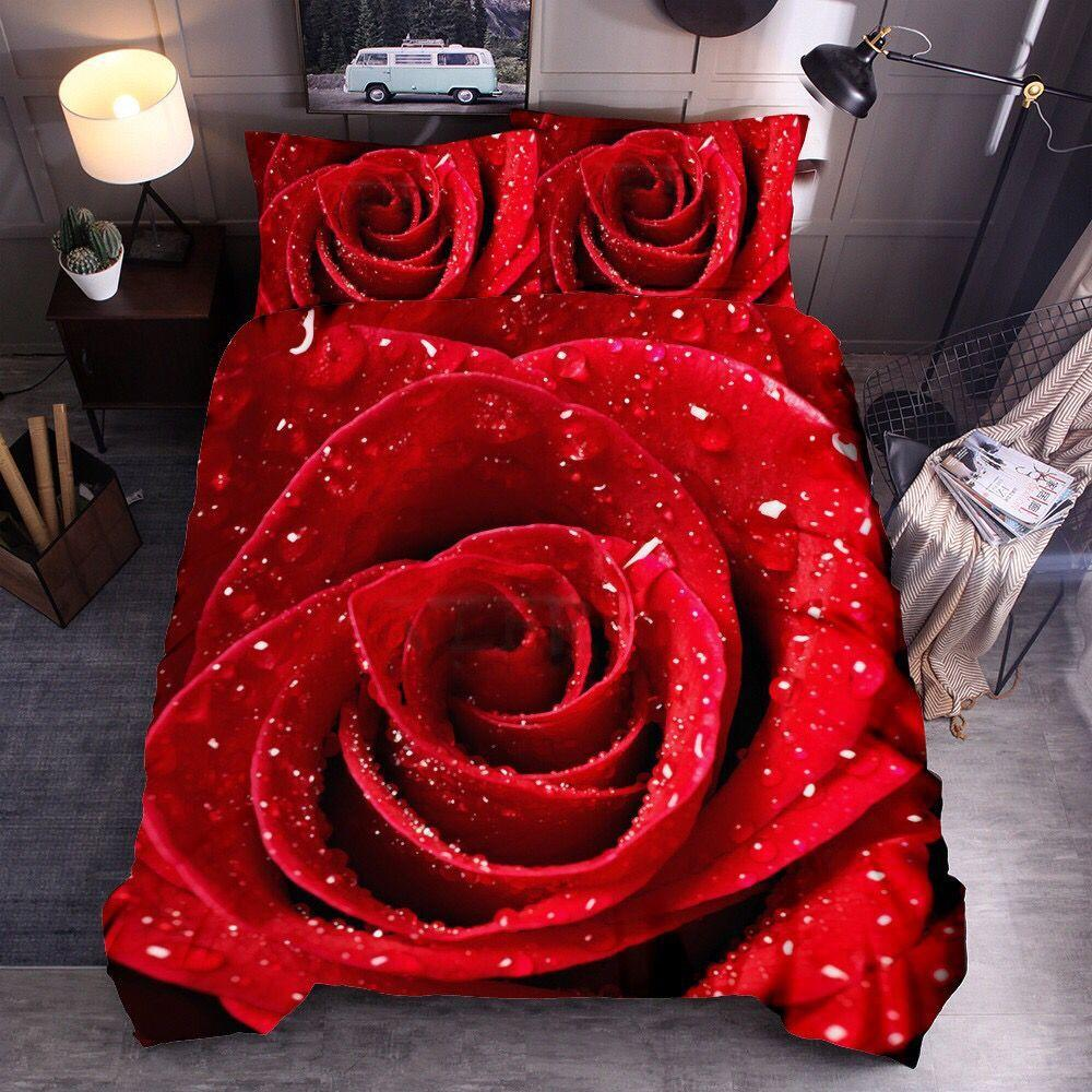 3D Rose Bedclothes Digital Printing Pillowcase Duvet Cover Set Home Textile Soft Wedding Valentines Decor Couples Bedding Set