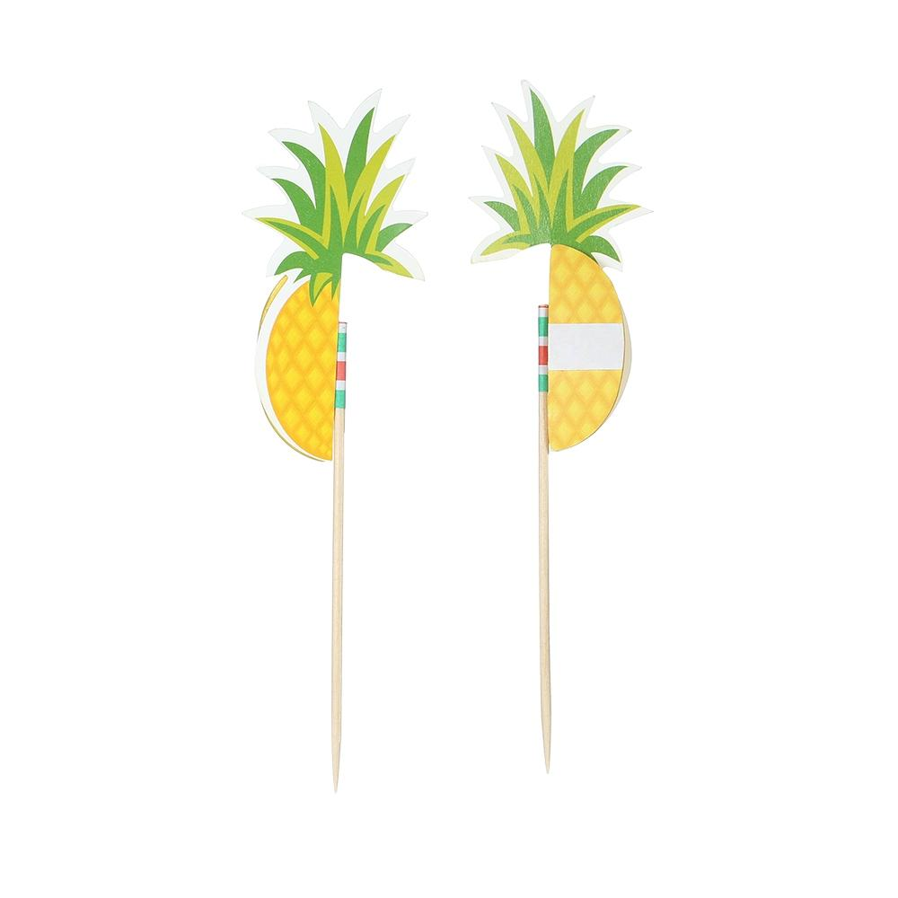 50pcs 3D Pineapple Fruit Food Toothpicks Cupcake Topper Cake Picks Decorations for Hawaii Luau Beach Wedding Birthday Party