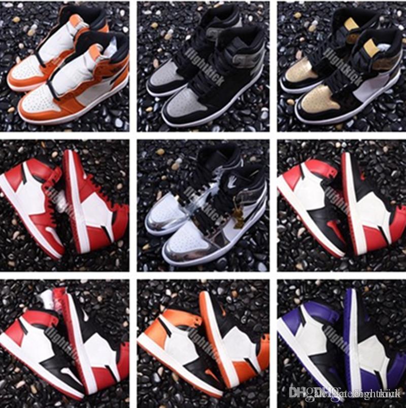 Vente en gros 1 Sneaker Haute OG ASG UNC 1 Basket Rouge Rouge Or Chaussures 7.5-13.5