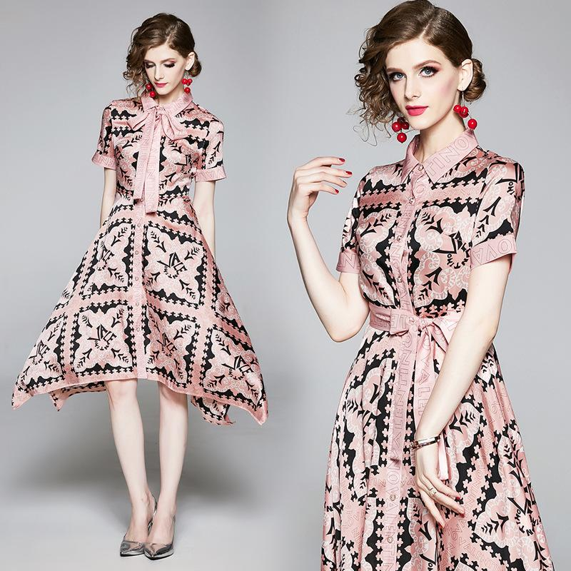 Summer Runway Luxury Fashion Letter Printed Women's Bow Ribbon Asymmetrical Dress Office Lady Business Slim Party Prom Dresses Short Sleeve
