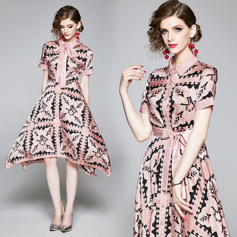 Manica nastro dell'arco asimmetrico Dress Office Lady affari Slim partito Prom Dresses pista corta di lusso Summer Fashion lettera stampata delle donne