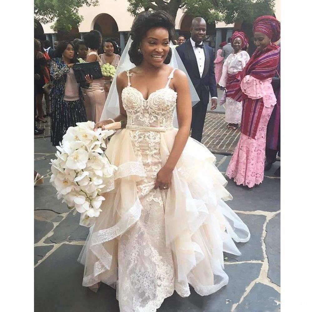 Vestidos de novia de encaje de princesa con falda extraíble Correas de espagueti Apliques Vestidos de novia de jardín con gradas Vestido de novia con gradas de verano