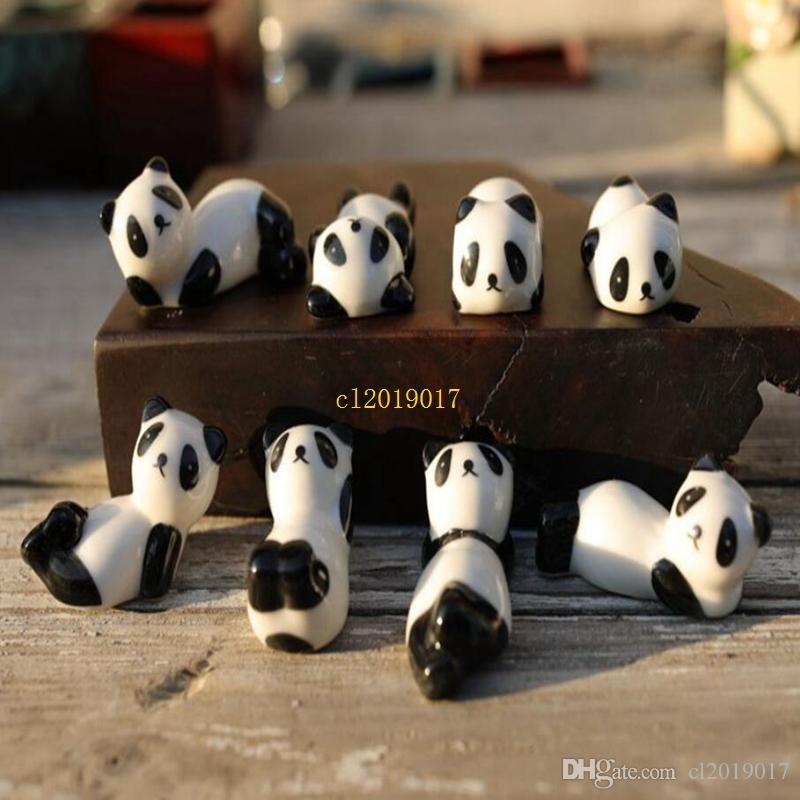 100 Parça Seramik Panda Çubuklarını Standı Tutucu Porselen Kaşık Çatal Bıçak Istirahat Raf Restoran Masa Danışma Dekor