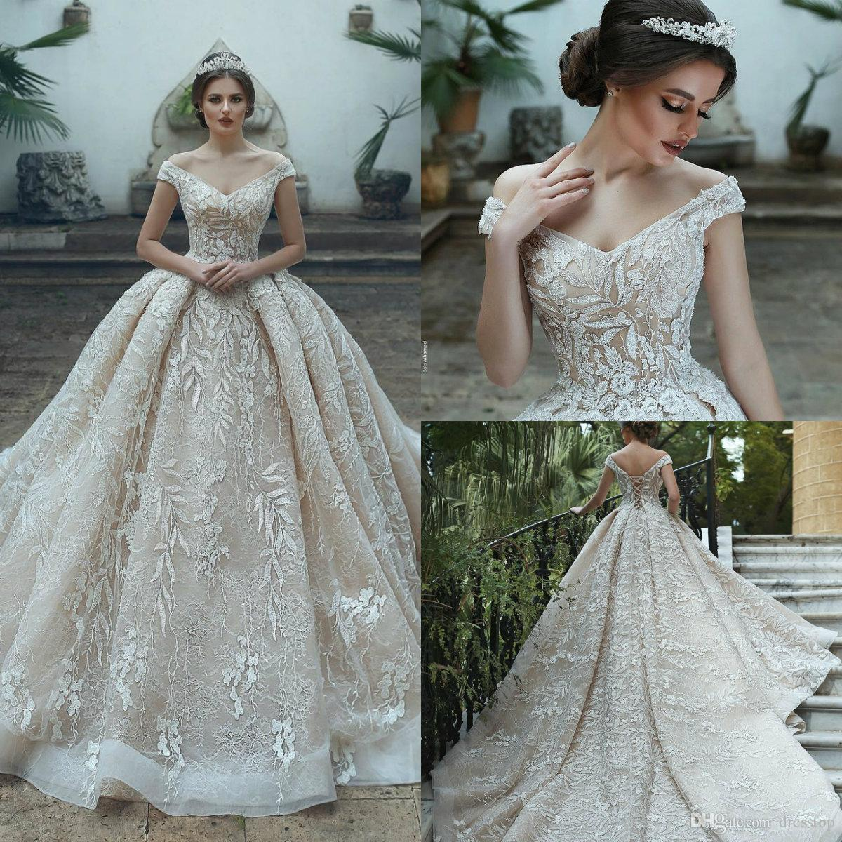 Champagne Lace Ball Gown Wedding Dress Off Shoulder Corset Back