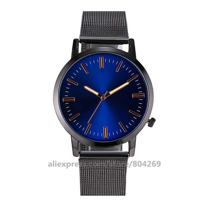 Moda uomo all'ingrosso blu affari maglia orologio donna vestito da polso al quarzo nuova signora studenti No Logo Mesh orologi 920162