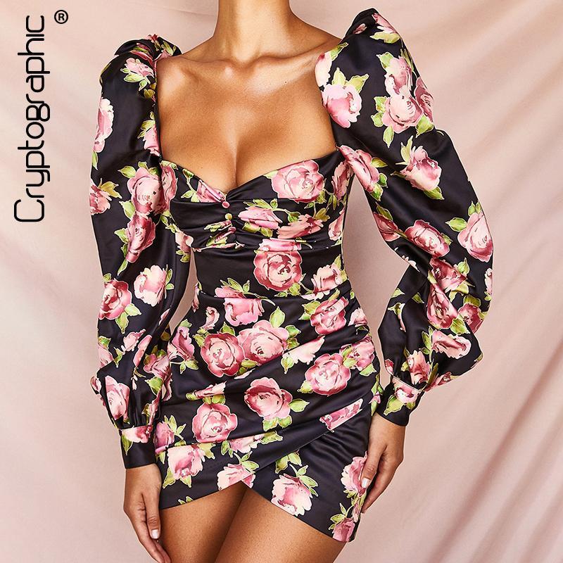 암호화 광장 칼라 꽃 인쇄 섹시한 등이없는 드레스 세련된 패션 끈이 버튼 퍼프 슬리브 미니 드레스 2019 가을