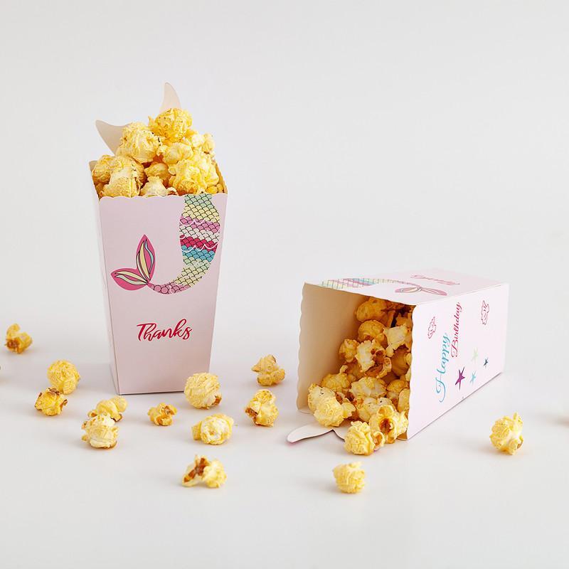 12pcs sirène pop-corn bonbons Dragée boîte-cadeau chocolat Emballage Papier sanck Sacs de faveur de mariage de fête d'anniversaire du film Art de la table