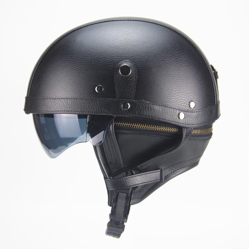 دراجة نارية دراجة نارية رايدر نصف المفتوحة الوجه PU جلد الخوذة مع عدسة مزدوجة DOT