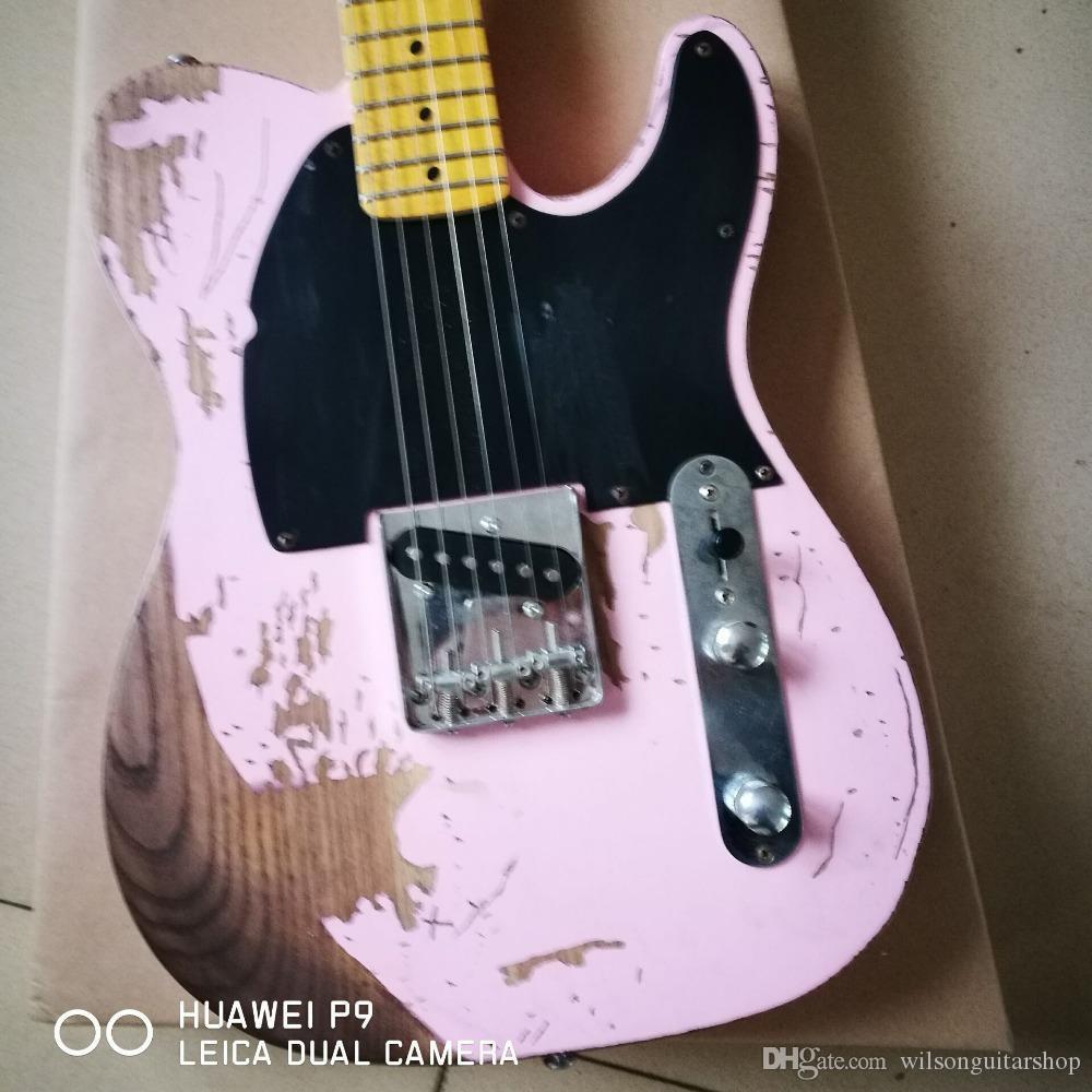 Porcellana TELE 6 stringhe Acero Tastiera lavoro manuale chitarra elettrica, rosa .relics colore guitarra da mani
