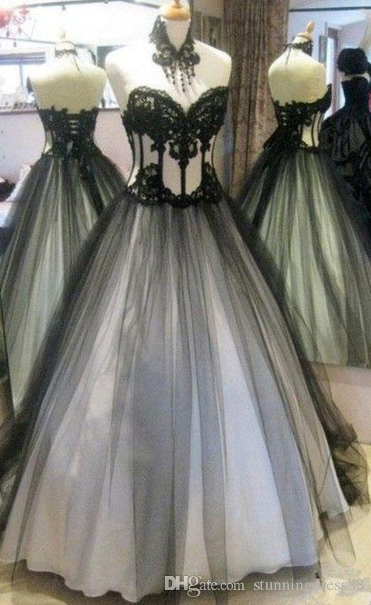 Discount Real Photo Gothic Wedding Dresses 2019 Sexy Black And White Tulle Applique Lace Corset Back Sweep Train Pleated Wedding Gowns Cheap Plain