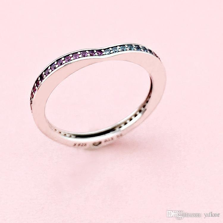 NUEVO Color CZ Diamond Heart RING Set Gift Caja original para Pandora 925 Sterling Silver Fashion Wedding Rings para mujeres