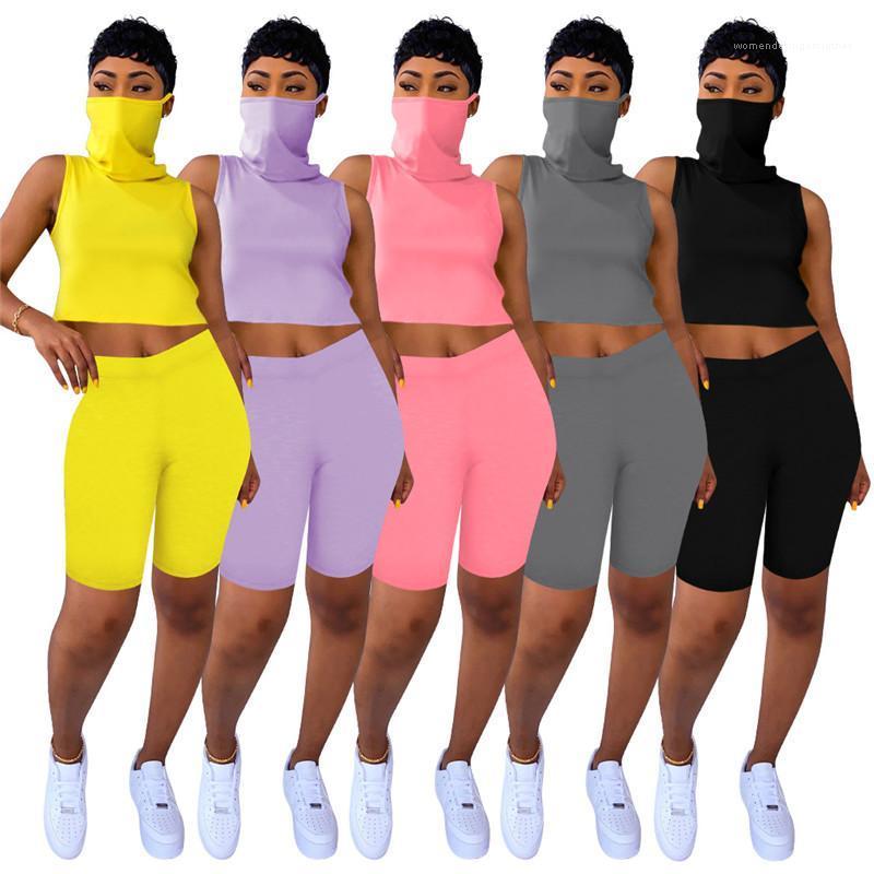 Tracksuits Summer Sweat Absorbted Breathable Sportanzüge Solid Color Sleeveless Zweiteilige Shorts Frauen Gesichts-Schleier