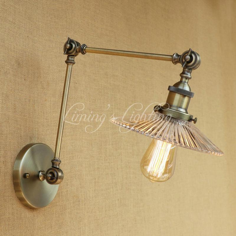 Industrial Metal Vintage lámpara de pared de cristal Pantalla LED Bombilla libre ajustable brazo basculante largo para el dormitorio Restaurante Bar LED E27