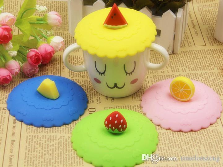 도매 음료 용기 귀여운 10.5 cm 발 방진 실리콘 컵 커버 사랑스러운 과일 컵 뚜껑 인감 뚜껑 만 컵 커버 무료 배송