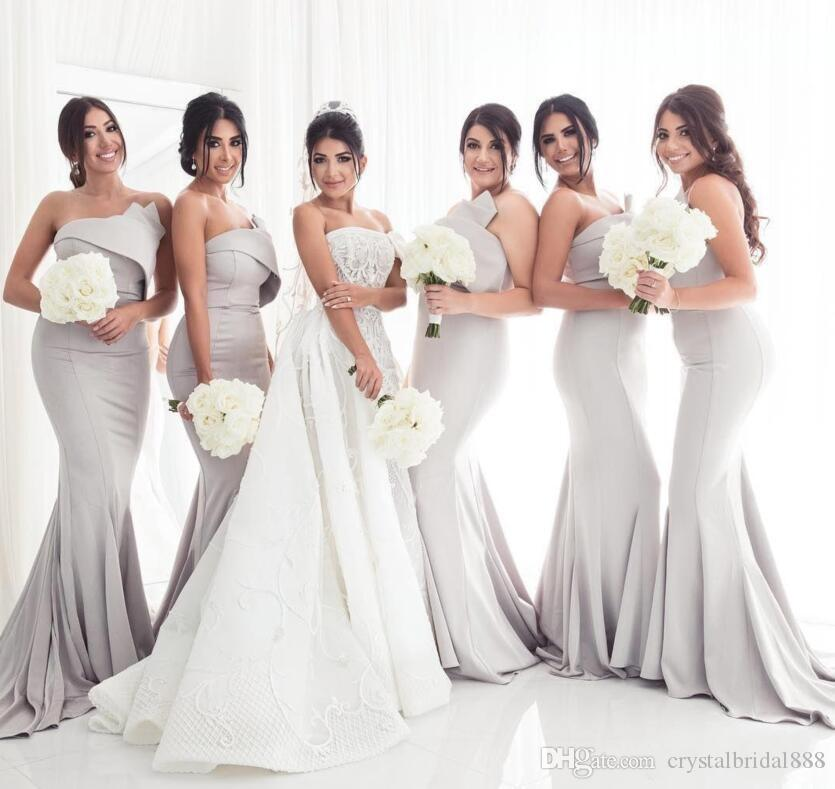 New Cheap Sexy Mermaid Bridesmaids Dresses Long Strapless Sleeveless Ruched Open Back Sweep Train Plus Size Custom Wedding Guest Gowns