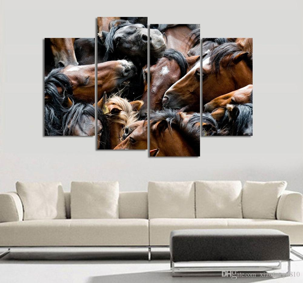 4Pcs/Set Sunset Horse Canvas Painting Animal Poster Vintage Grassland Wall Christmas Canvas Pictures For Home Decor Cheap Wall Art Quadro