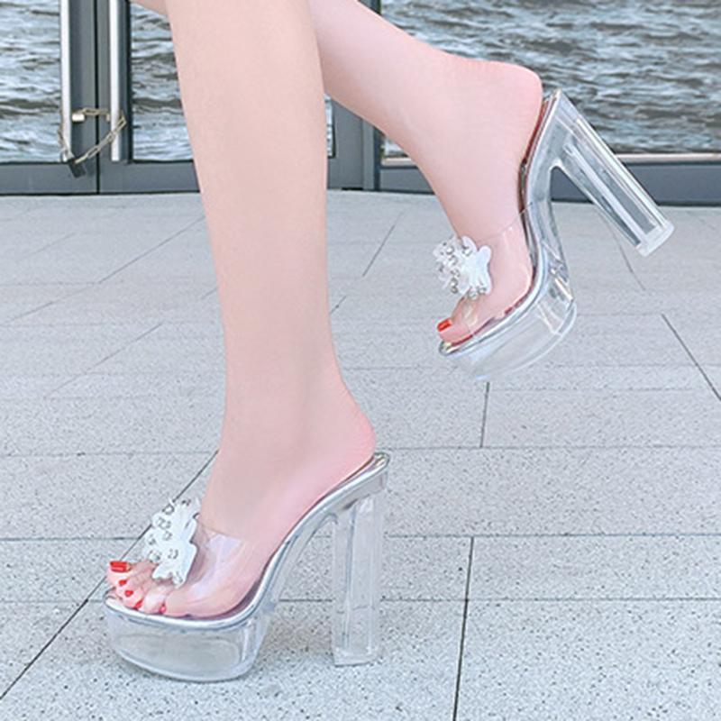 feminino chinelos de cristal transparente sensuais 2020 salto grosso de salto alto chinelos sandálias sapatos da moda das altas mulheres