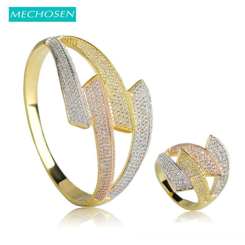 Rame Donne MECHOSEN di lusso dei monili di nozze strass Big Bangles Ring Set del polo Zirconia dell'anello della mano Accessori C18122701