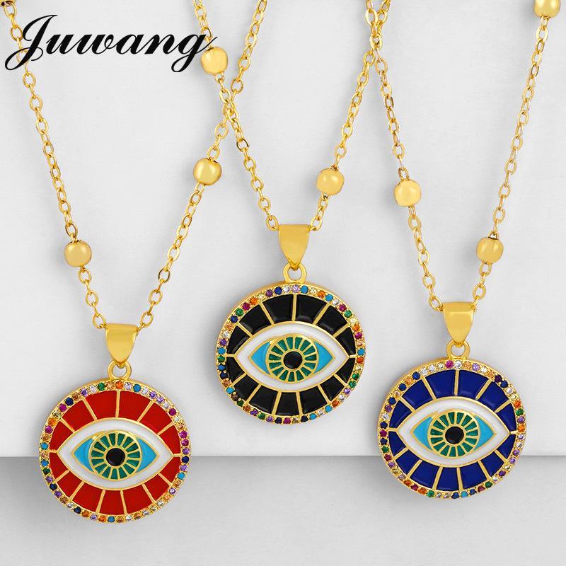 سلسلة مجوهرات Juwang جولة التركية الشر الأزرق قلادة العين زركون قوس قزح العين قلادة إمرأة طويل