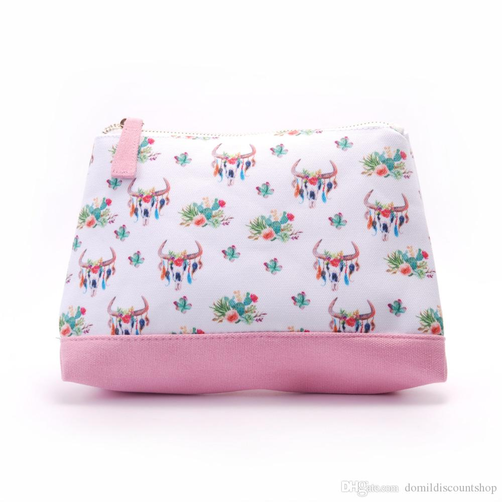 Wholesale Blanks Canvas Bottom Bullskull Cactus Arrows Cosmetic Bag Make up Bag Free Shipping DOM103661