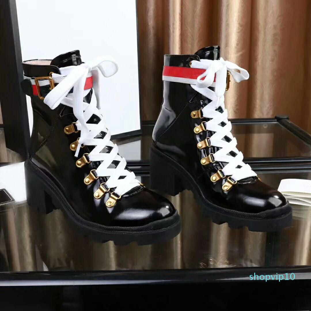 뜨거운 판매 - 싶게 발가락 마틴 부츠 버클 스트랩 땅딸막 한 발 뒤꿈치 라운드 발가락 패션 놓은 발목 부츠