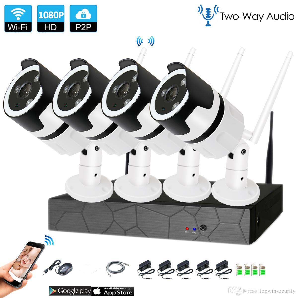 4CH two way audio camera 1080P HD Wireless NVR Kit P2P 1080P IR Night Vision Security 2.0MP IP Camera Wireless CCTV System