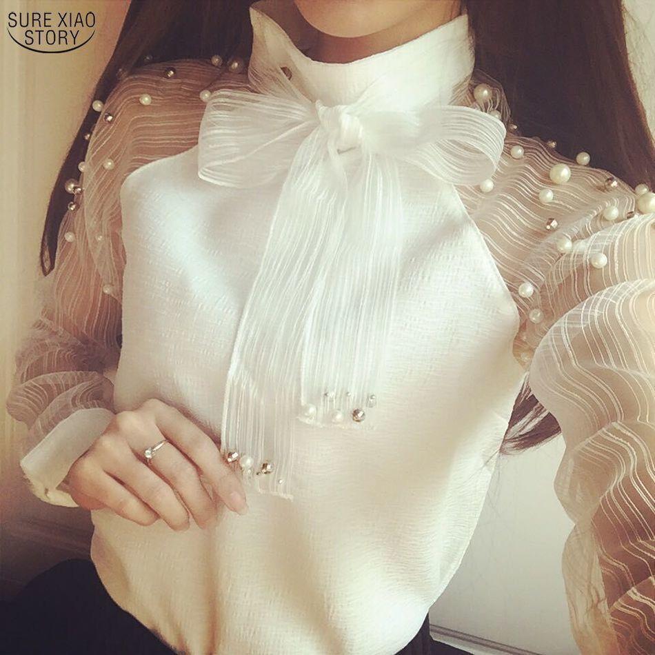 2018 Nueva Primavera Elegante de organza arco de la perla blanca de la blusa casual camisa de la gasa de las mujeres blusas Tops Blusas Femininas 607i 25 MX19070402
