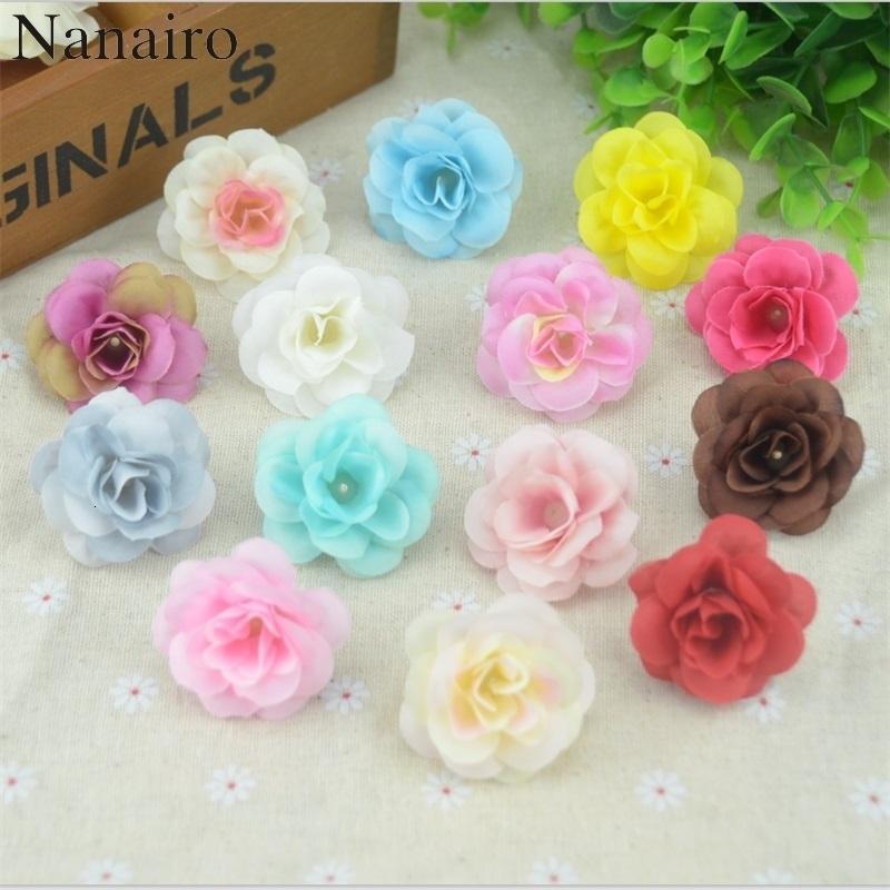 50 PC 4.5cm Mini hecho a mano de seda artificial Rose cabezas de flores de DIY Scrapbooking bola de la flor para la boda beso decorativo T191029
