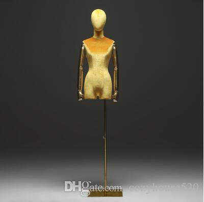 10style Goldene Arm Farbe Fenster Baumwolle Schaufensterpuppe Körperstand Weibliche Kleid Form Schaufensterpuppe, Schmuck Flexible Frauen, Verstellbarer Rack, Puppe C840