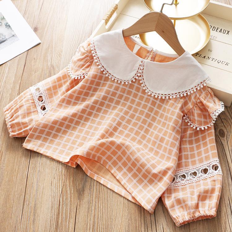 Kızlar 2020 İlkbahar Yeni Stil Çocuk Ekose Gömlek Dantel Bebek Büyük Yaka yönlü Hollow üzerinden KIZIN Shirt