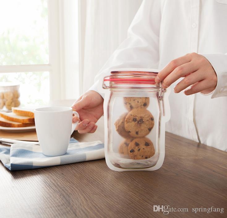 Großhandel Kunststoff Mason jar Shaped Food Container Sichere Aufbewahrungstaschen Wiederverwendbare Umweltfreundliche Snacks Tasche SN239
