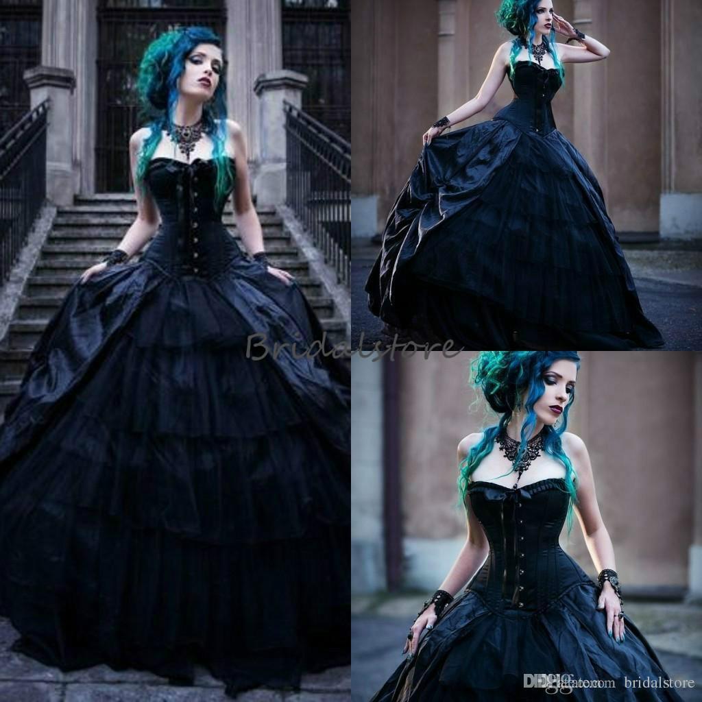 Vintage schwarze viktorianische gotische Brautkleider Korsett trägerlosen Vampires Punk Style Country Hochzeitskleid plus Size Evil Queens Brautkleider