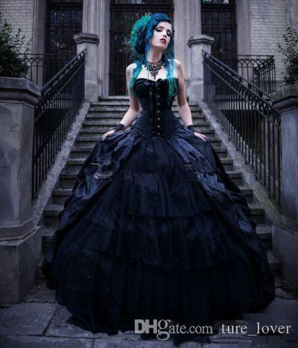 Vintage Victorian Victorian Vestidos Gótico Vestidos Espartilho Strapless Vampiros Punk País Plus Size Evil Queens Vestidos De Noiva Vestidos De Noiva