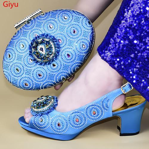 doershow Nuove scarpe da sposa africani arrivo e Bag Set cielo blu Italian Shoes con i sacchetti di corrispondenza nigeriano donne party! HXD1-14