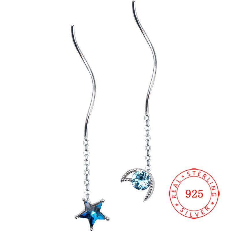 Moon and Star Earring Sterling Silver Pull Through Threader Dangle Drop Earring Asymmetric Ear Line Long Earrings for Women Teen