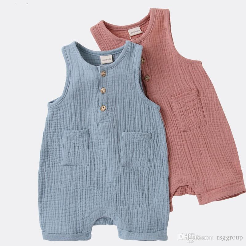 NEW Baby Boy Girl Round Neck Overalls Rompers Solid Blue Pink Organic Cotton Front Button Pocket Newborn Sleeveless Bodysuits Summer Onesies