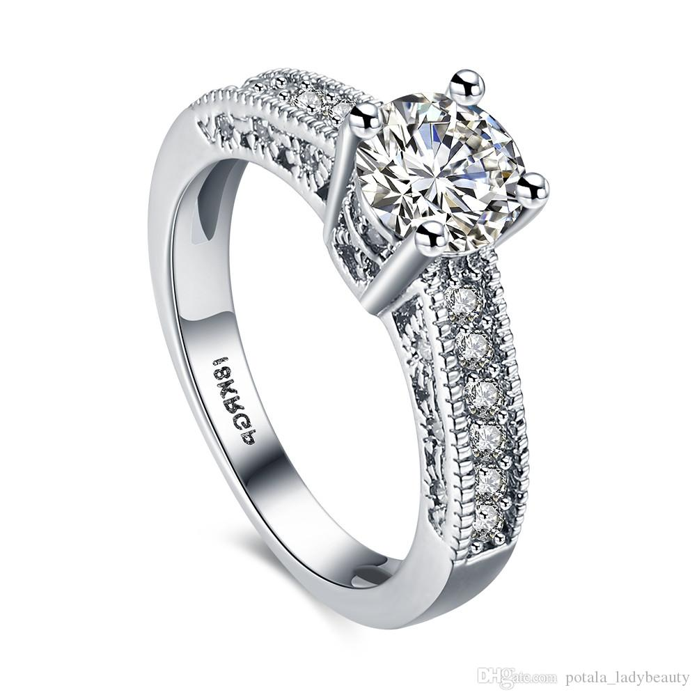 CZ خواتم الماس 18KRGP HeartArrows الدائري الزركون اكسسوارات البلاتين الحب مزاج رومانسي أنيق كريستال للزفاف المرأة الزفاف
